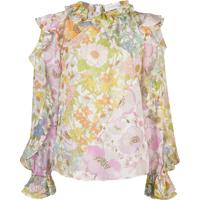 Zimmermann Blusa Super Eight Com Babados - Rosa