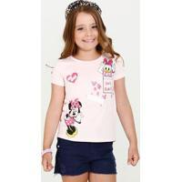 Blusa Infantil Minnie E Margarida Manga Curta Disney