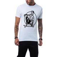 Camiseta Ukkan Skull Skate Masculina - Masculino-Branco