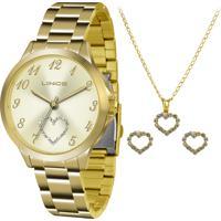 Kit De Relógio Analógico Lince Feminino + Brinco + Colar - Lrg4454L Kt51C2Kx Dourado