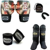 Kit Boxe Muay Thai Top - Luva Bandagem Bucal Caneleira Free Style- 08 Oz - Unissex