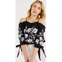 Blusa Floral Com Amarraã§Ã£O - Preta & Brancapop Up