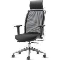 Cadeira Soul Presidente Com Encosto De Cabeca Assento Crepe Preto Base Aluminio Piramidal - 54228 - Sun House