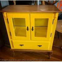 Cristaleira Baixa Mime Laca Amarela Com Vidro E Base Imbuia - 47005 - Sun House