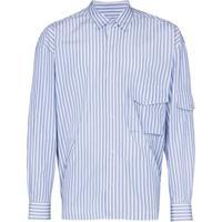 Martine Rose Camisa Listrada Com Bolsos - Azul