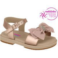 Sandália Com Laço- Rosê & Bege- Molekinhamolekinha
