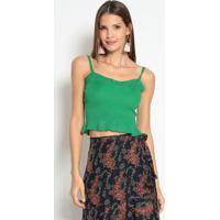 Blusa Cropped Canelada Com Brilho- Verde- Le Fixle Fix
