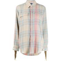 Polo Ralph Lauren Camisa Xadrez Com Bolso No Busto - Neutro