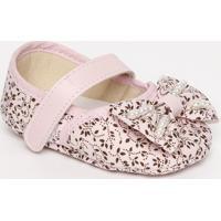 Sapato Boneca Floral Com Laço- Rosa Claro & Brancatico Baby
