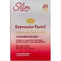 Henna Para Sobrancelhas Expressão Facial Slim Castanho Escuro - Feminino-Incolor