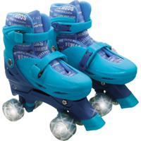 Patins Roller Infantil 4 Rodas Paralelas Azul Com Luz De Led Ajustável De Menino - Unik Toys Multicolorido