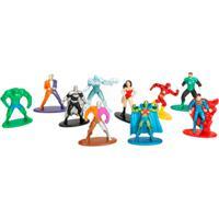 Conjunto De 10 Mini Figuras - 5 Cm - Nano Metal - Dc Comics - Heróis E Vilões - Dtc - Masculino-Incolor