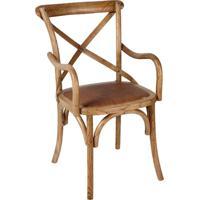 Cadeira Paris Carvalho Americano De Madeira Com Braço E Assento De Rattan