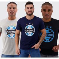 Kit De 3 Camisetas Grêmio I Preta Marinho E Cinza