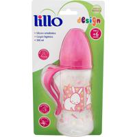 Mamadeira Lillo Design Bico De Silicone Ortodôntico 6+ Meses Rosa 300Ml