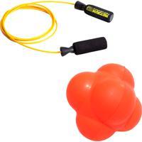 Kit Bola De Tempo E Reação Reaction Ball Liveup Ls3005 Corda Pular Em Aço Amarela Pretorian