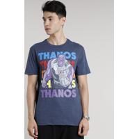 Camiseta Masculina Thanos Manga Curta Gola Careca Azul Marinho
