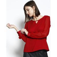 Blusa Com Recorte Vazado- Vermelha- Dbz Jeansdbz Jeans