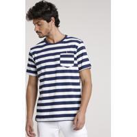 Camiseta Masculina Básica Listrada Com Bolso Manga Curta Gola Careca Azul Marinho