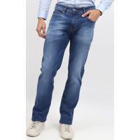 Jeans Rafael Skinny Com Botã£O & Bigodes - Azul - Somsommer