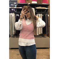 Colete Feminino Malhas G'Dom De Jackar Branco/Rosa