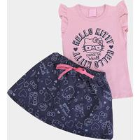 Conjunto Infantil Hello Kitty Change The World Feminino - Feminino-Rosa