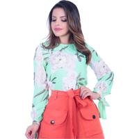 Blusa Miss Lady Crepe Verde Floral