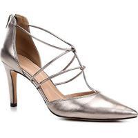 Scarpin Couro Shoestock Salto Alto Barely - Feminino-Prata