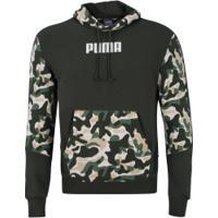 Blusão Com Capuz Puma Rebel Camo Hoody Tr - Masculino - Verde Escuro