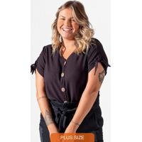 Camisa Feminina Plus Size Preto