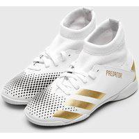 Chuteira Adidas Infantil Predator 20 3 Salão Jr Branco/Dourado