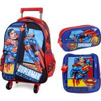 Kit Escolar Mochilete Lancheira E Estojo Superman
