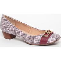Sapato Em Couro Com Aviamento - Vinho & Branco- Saltjorge Bischoff