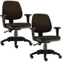 Kit Cadeiras Giratória Lym Decor Job Marrom