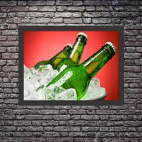 Quadro Decorativo Garagem Balde De Cerveja Gelada Preto - Grande
