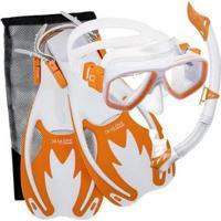 Kit De Mergulho Máscara+Respirador+Nadadeiras Cressi Rocks - Unissex