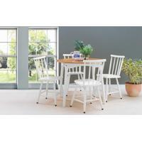 Sala De Jantar Pequena Redonda Com Mesa E 4 Cadeiras Mimo 90Cm Verniz Jatobá E Laca Branco