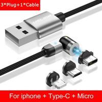 Cabo 3 Em 1 Magnético Uslion Para Samsung E Iphone Carregamento Ultra Rápido - Prata Iphone