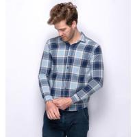 Camisa Social Teodoro Xadrez Superslim Com Elastano Masculina - Masculino-Marinho+Azul