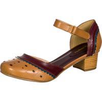 Sapato Feminino Boneca Retro Malbork Em Couro Whisky 3114 Marrom Amarelado