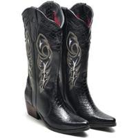 Bota Couro Country Texana Click Calçados Montaria Cano Longo Bico Fino Feminina - Feminino-Preto