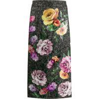 Dolce & Gabbana Saia De Tweede Com Estampa Floral - Cinza