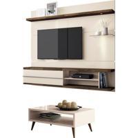 Painel Tv Épic Com Mesa De Centro Lucy Off White/Deck - Hb Móveis