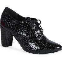 Sapato Oxford Salto Feminino Lara Croco Preto