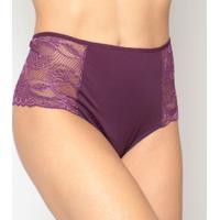 Calcinha Hot Pants Com Rendaroxo Escuro - Eleganceelegance
