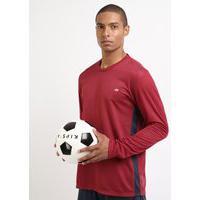 Camiseta Masculina Esporte Ace Futebol Manga Longa Gola Careca Vinho