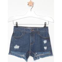 Short Jeans Com Destroyed- Azul Escurocolcci