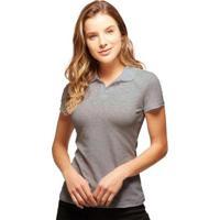 Camisa Polo Basicamente Tradidiconal Feminina - Feminino-Cinza