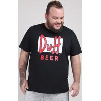 Camiseta Masculina Plus Size Duff Beer Os Simpsons Manga Curta Gola Careca Preta