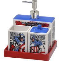 Jogo Para Banheiro Capitão América®- Branco & Vermelho